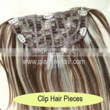 piano color remy human hair half wigs clip in hair extensions