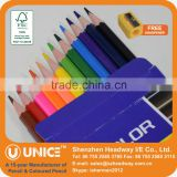 Colored Lead Wooden Pencil Back to School; School Supply Colored Pencil Set with Free Sharpener                                                                         Quality Choice