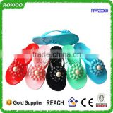 Made in China Hot Sale Adult Size Jelly Flip Flop with flower