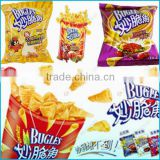 bugles 3d extrusion food making machine / corn extruding fried bugles snacks making machine