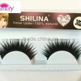 Wholesale thick cross natural look human hair false eyelash/human hair eyelash extension ZX:FE864