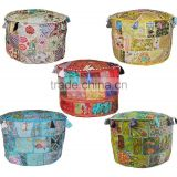 Multi Patchwork Ottoman Pouf Cover indian Beaded Ottoman Pouf Covers