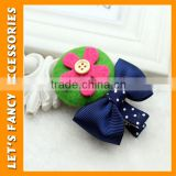 PGHD0317 2016 Lovely handmade wool various colors flower cute fancy hair clip in hair extension