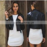 Fashionable ladies autumn/spring pu leather jacket new design black women leather jacket