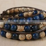 Lapis Lazuli, Sterling Silver, Triple Wrap Leather Beaded Bracelet. Lotus Seed Beads, Sterling Button.