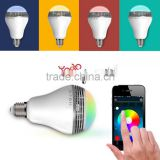 Seven Color Light LED Wi-Fi Bluetooth Speaker Music Light Lamp Bulb White