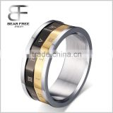 Mens Tri Colour Roman Numerals Gold Black & Silver Stainless Steel Spinner Designer Band Ring