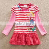 3-8y (H6610) 2 colors New Girls dresses Neat children clothes striped hot selling cartoon belly girls casual dresses long sleeve