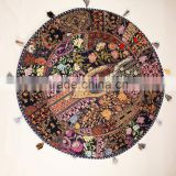 Black Ethnic Decorative Big Round Pillows Indian Cushion Covers Cotton Table cover Table mat Big floor Round throw pillow covers