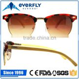 beautiful stylish custom design metal acetate front sunglass slim temple bamboo wood sunglasses                                                                         Quality Choice