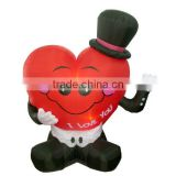 2.4m giant inflatable Valentine's heart with light can wave hands inflatable wedding heart