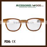 high quality clear eyewear fashion high quality RX glasses with wood temple optical glasses