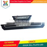 China Wholesale Factory Supply Stainless Steel Door Sill OEM Scuff Plate For grace, Flashing LED Scuff