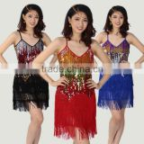New Latin dance skirt dress costumes female Sequins tassel Latin dance costumes Adult dance performance clothing