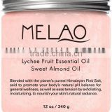MELAO Himalayan Salt Body Scrub with Lychee Essential Oil, All Natural Scrub to Exfoliate & Moisturize Skin, 12 oz