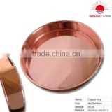 stainless steel round tray with copper surface/metal fruit plate