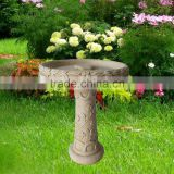 Fiber Clay Bird Feeder With Flower Design As Garden Ornament