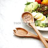 Salad Servers Acacia Wooden Salad Serving Spoon and Fork. Engraved utensils for healthy eating