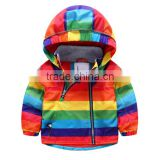 Wholesale boys rainbow color windproof winter coats boy cotton-padded clothes with zipper