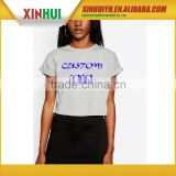 New Style Organic Cotton Oem Screen Printing White Crop Top, Custom Beauty Sexy Clothes For Girls