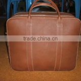high quality Genuine cow light brown leather travel briefcase leather bag
