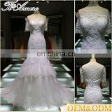 custom hot sale Alibaba women bridal's long sleeve evening dinner party trumpet mermaid lace wedding dress bridal