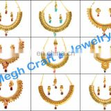 Gold necklace-Gold Jewellery-Design Indian fashion jewellery -Laxmi coin necklace-South Indian temple Necklace-One Gram Gold Set
