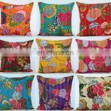 "16"" Indian Kantha Cushion Pillow Cover Throw floral kantha Handmade Embroidery Work Home Decorative Traditional ethnic art"