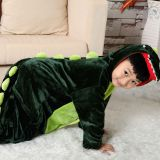 Dinosaur Cartoon Flannel Conjoined Polyester Children Pajamas