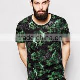 china wholesale cheap price T-Shirt with All Over Tropical Bird Print