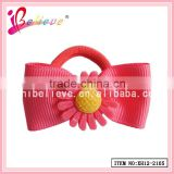 Sunflower elastic band human hair ponytail ribbon bow hair bands for kids (XH12-2105)