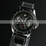 New Mens Black Dial Leather Band Classic Design Self-Wind Up Mechanical Automatic Watch WM121