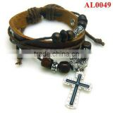 Leather bracelet with beads handmade retro style Jewellery, cross sideway wristband AL0049