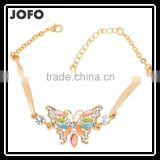 Beautiful Fashion Color Opal Butterfly Pendant Inlaid Crystal Bracelet