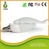 High quality milky cover smd3528 e14 led candle lamp 1.5w with tail 110v 220v