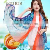 summer custom design long style of length digital printing100%Muberry silk twill scarf, silk nylon blending scarves and shawls