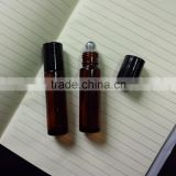1/3oz. 10ml Amber Glass Roll on Bottle Vials with Black Caps and Steel Balls
