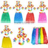 hawaii Grass Skirt Flower Hula Lei Garland Fancy Dress Costume 6 Piece SetBW1693