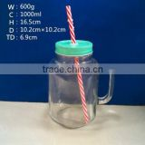 large 1000ml drinking glass bottle glass mason handle jar mug 1 liter