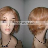 2011 Short blonde human hair cheap full lace wig Christmas wigs accept paypal