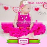 Beautiful baby girls hot pink pettiskirt tutu and chiffon top set baby clothing set Made in China