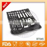 Hot sell FDA and LFGB certification snap on bag stainless steel 18 piece bbq tools BBQ tools set
