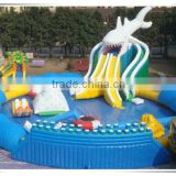 2016 new design shark giant inflatable water park, outdoor inflatable park, inflatabel aqua park
