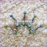 With Two Crystal Rainbow Titanium Anodized Stainless Steel Navel Piercing Jewelry [AP-411A]