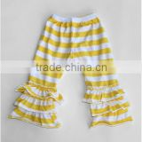 Recommend! New Design! Black stripe cotton polka dots ruffle pants for girls wholesale baby ruffle long capris pants trousers