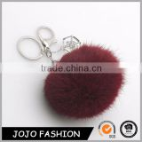 Lovely Genuine Rabbit Fur Ball PomPom Keychain,Zinc Alloy Metal Type rabbit fur ball keychain, Rabbit Fur Ball Handbag Key Chain                                                                         Quality Choice