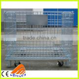 china supplier high quality wire mesh pallet cage, wheeled containers , wire warehouse cages