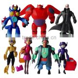 (Factory Supply) 9pcs 2016 wholesale big hero 6 pvc mini figure toy, plastic custom action figure, 3D cake toppers