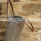 Canvas tote bag Recycled grey bag Leather straps