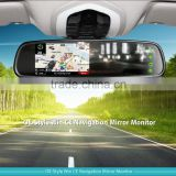 4.3 inch car wince system navigation rear view mirror monitor with bluetooth speaker, GPS Tracker and reverse camera display